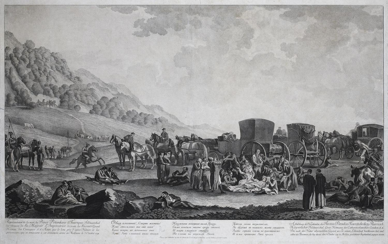 Смерть Г.А.Потемкина. Гравюра по рисунку художника М.М.Иванова. 1793г.